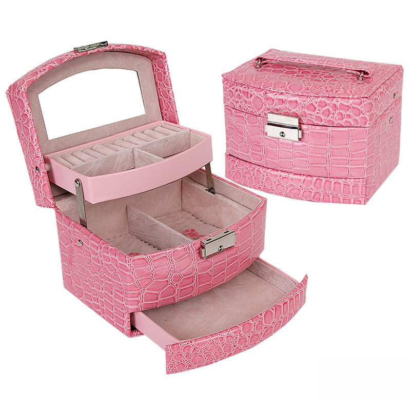 Portable Jewelry Leather Packaging Casket Storage Box Makeup