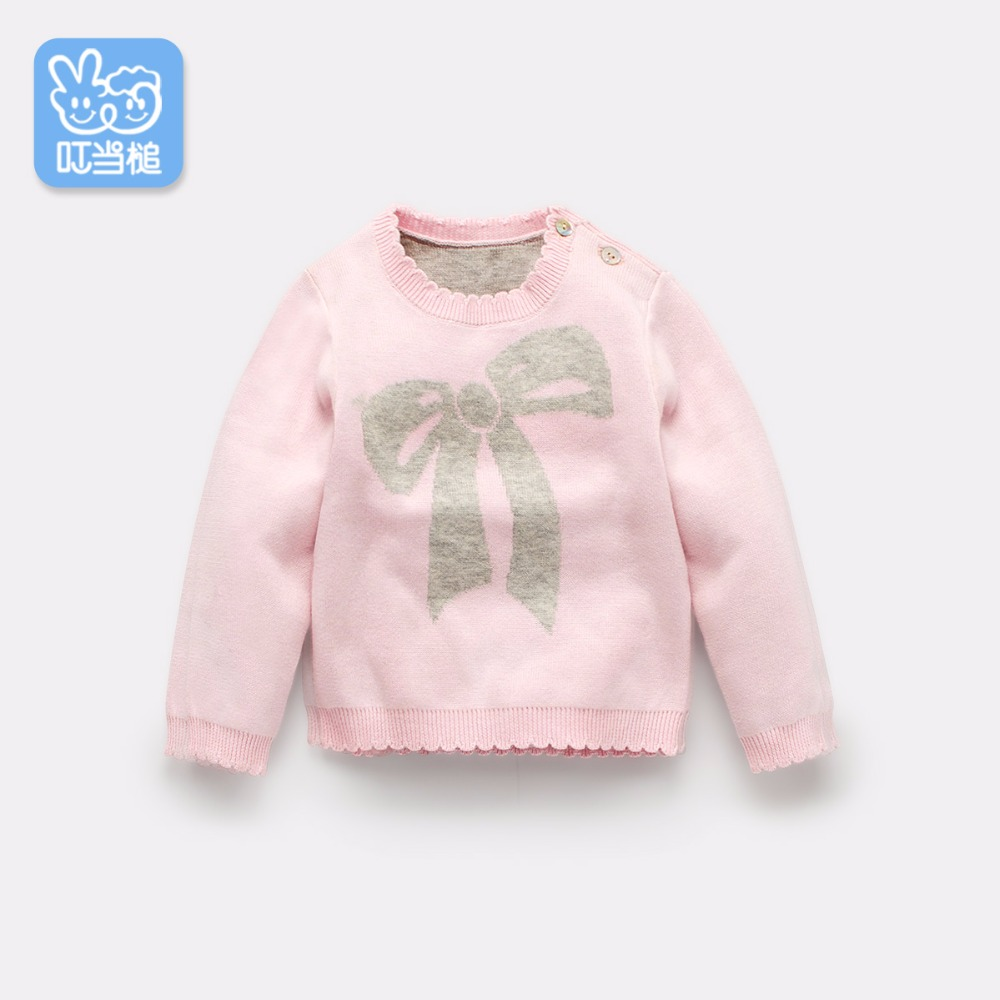 Dinstry Spring and autumn New Arrival baby autumn bowknot sweater baby clothing princess pink sweater bowknot embellished plus size drop shoulder sweater