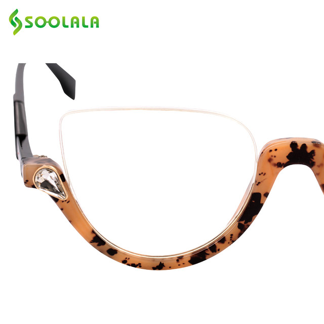 125dab5018a SOOLALA Semi-rimless Cateye Reading Glasses Women Men +1.0 1.25 1.5 1.75  2.25 to 4.0 Clear Lens Eyeglasses Frame Reading Glasses