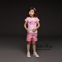 Retail Girls Clothing Set 2Pcs Pink And White Stripe  With Letter  Girl T Shirt And Infant Pants Children  Summer Suits