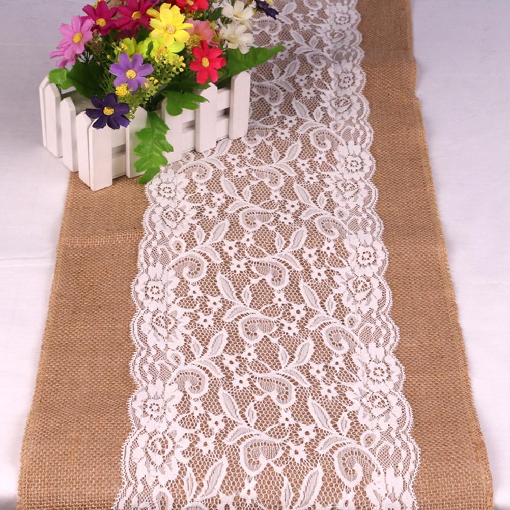 Lace Vintage Natural Burlap Jute Hessian Table Runner