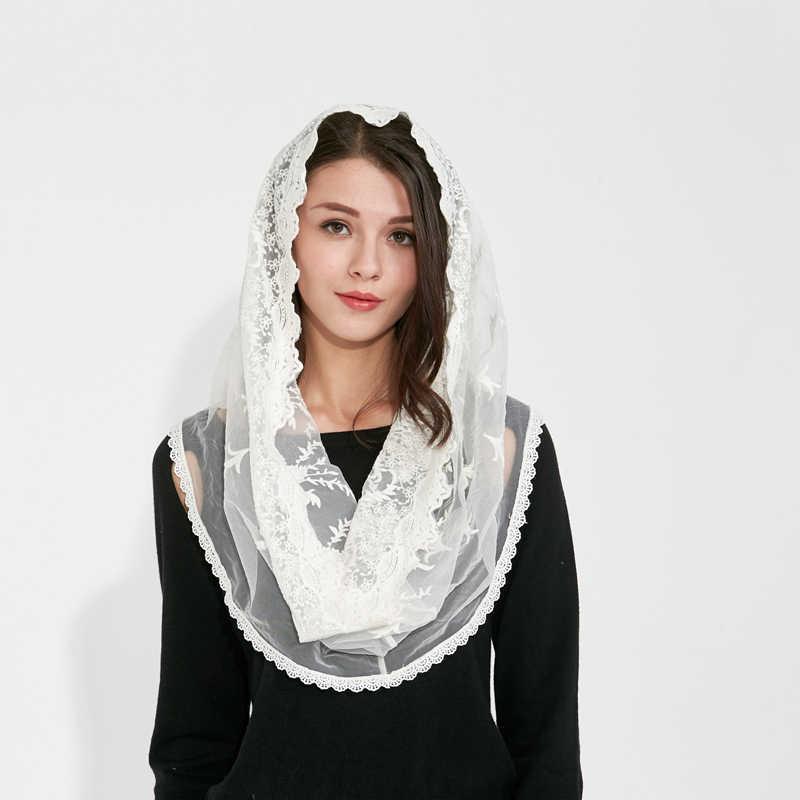 クーベルチュール白黒カトリックヘッドスカーフ女性ハンカチチャペルレース教会ベール結婚式の花嫁のマンティージャラテンベール大量