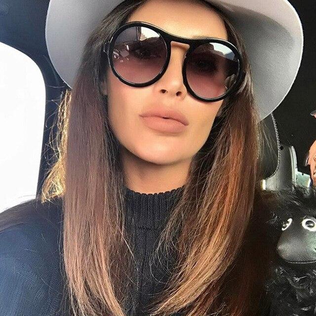 78f68cddf618 2017 Oversized Round Sunglasses Women 2017 Fashion Clear Brand Designer Sun  glasses For Female Resin Frame