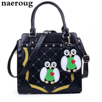 Vogue Women Bag Lovely Owl Printing Women Messenger Bags Ladies Tote Bags Patchwork Women Leather Handbags