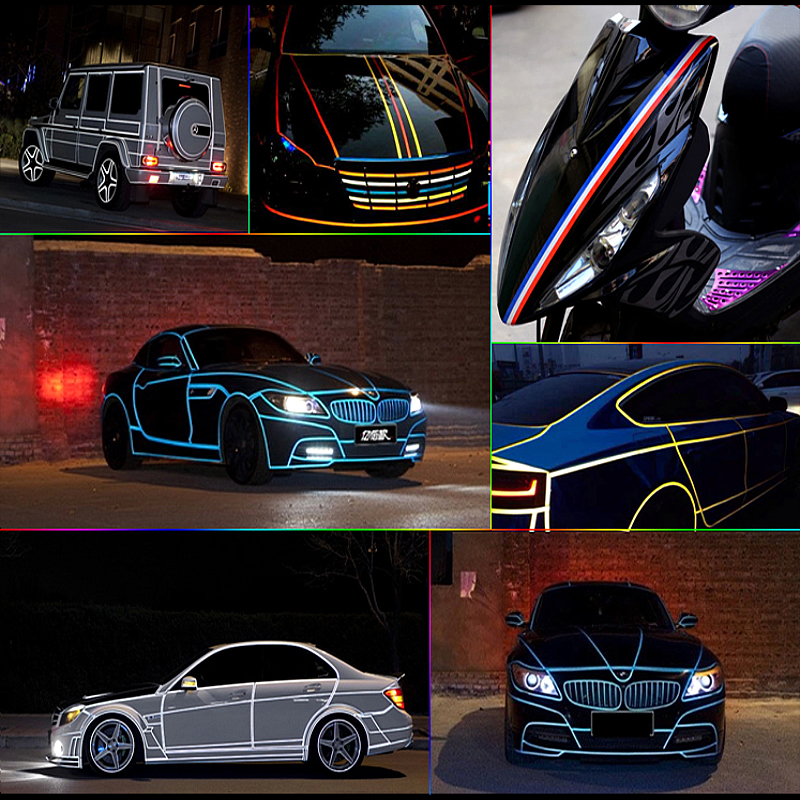 Wholesale 1cm*5m Motorcycle Reflective Tape Stickers Car Styling More Position can used for Granta Largus 4X4 Kalina Priora Asx