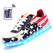Men LED Shoes with Remote Luminous Light Up  Adults Casual Shoes USA Star Print  Man&Unisex Kid Size 35-46 Unisex Hot Fashion