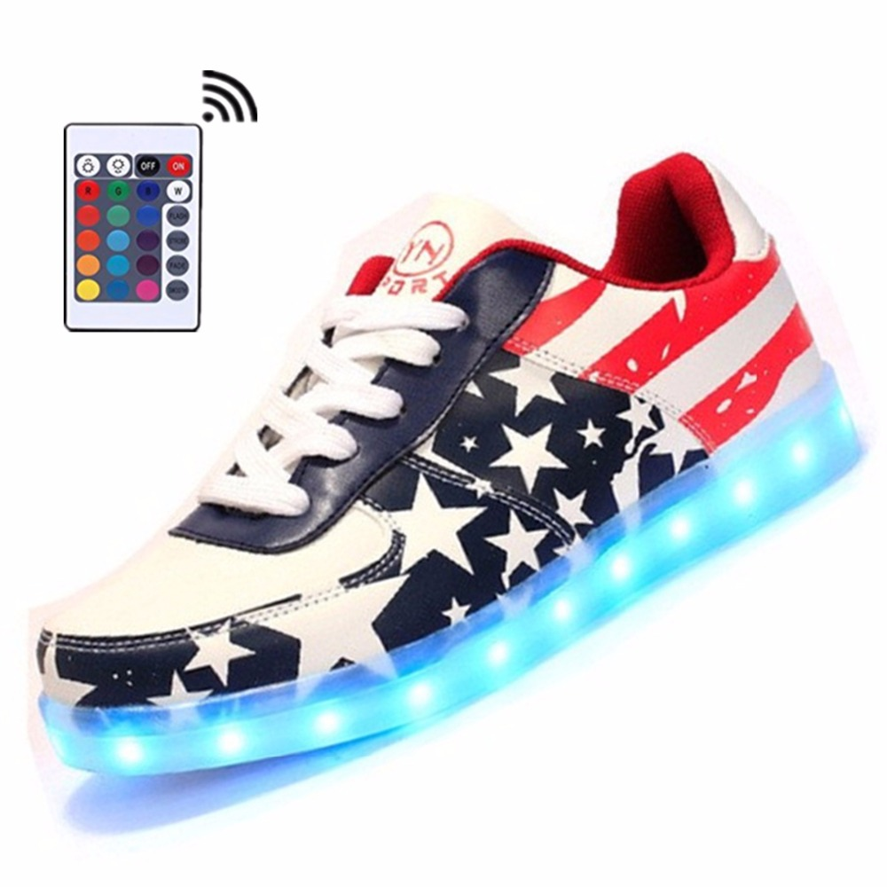 Men LED Shoes with Remote Luminous Light Up  Adults Casual Shoes USA Star Print  Man&Unisex Kid Size 4-15 Unisex Hot Fashion
