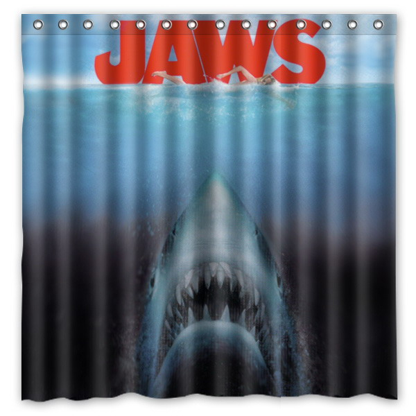 Jaws Shark Shower Curtain Waterproof Fabric Curtain For