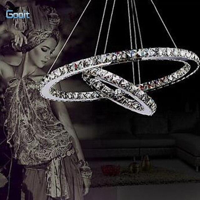 36 Watt Pendelleuchte Luxus Moderne LED Kristall Lebendige Zwei Ringe Led Wohnzimmer Lampen 60x40 Cm