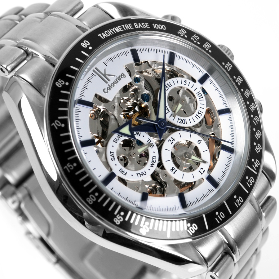 IK colouring Men Watch Luxury Brand Mechanical Watches Skeleton Male Clock 304 Full Steel Fashion Casual Automatic Wristwatch ik colouring gold skeleton mechanical hand wind watches men luxury brand business dress silver steel watch male clock relogio