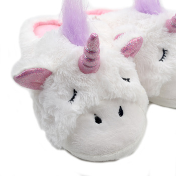 Girls Plush Unicorn Slippers