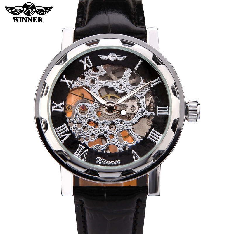 New Winner Hot mechanical Brand men hand wind Skeleton watches male Dress fashion clock style black gold blue color leather band ks black skeleton gun tone roman hollow mechanical pocket watch men vintage hand wind clock fobs watches long chain gift ksp069