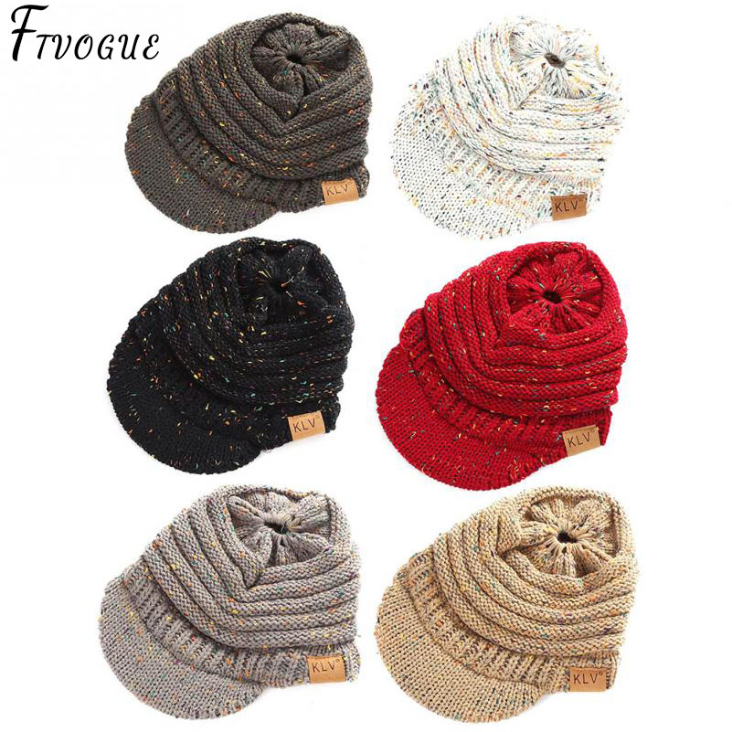 92e0540a4bc CC Ponytail Beanie Hat Women Crochet Knit Cap Winter Skullies Beanies Warm  Caps Female Knitted Stylish Hats For Ladies Fashion