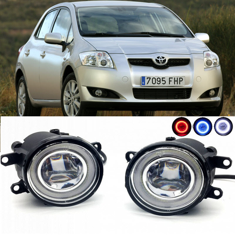 2 in 1 LED Angel Eyes DRL 3 Colors Daytime Running Lights Cut-Line Lens Fog Lights Lamp for Toyota Auris 2007-2015 car styling 2 in 1 led angel eyes drl daytime running lights cut line lens fog lamp for land rover freelander lr2 2007 2014