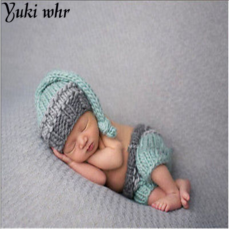 2017 Baby Newborn Cocoon Photography Accessories Child Animal Beanie with Hand Made Diaper Cover Knitted Hat 0-6M