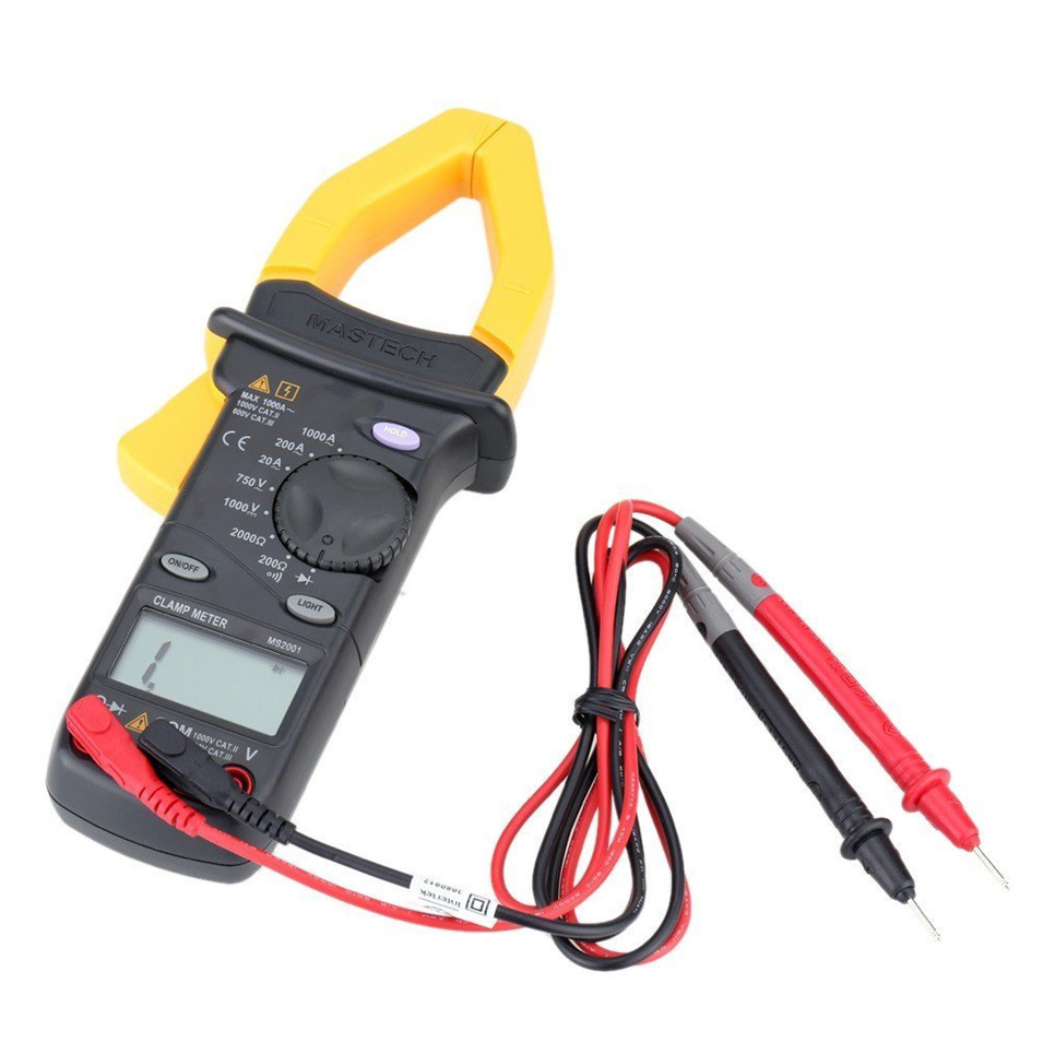 2017 New Digital Clamp Meter Multimeter AC DC Voltage Current Diode Resistance Measurement MASTECH MS2001C mastech ms2001c digital clamp meter ac dc voltage tester detector with diode and backlight