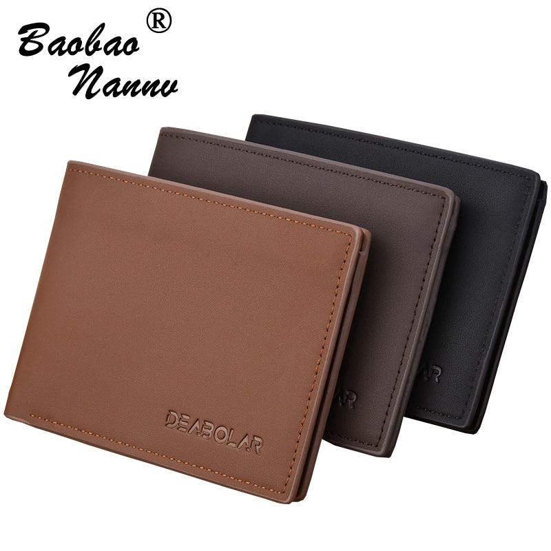 Transverse Men Wallets 2019 Vintage Solid Short Coin Purse Multi-Functional Cards Holders Simple Leather Wallet For Men Business