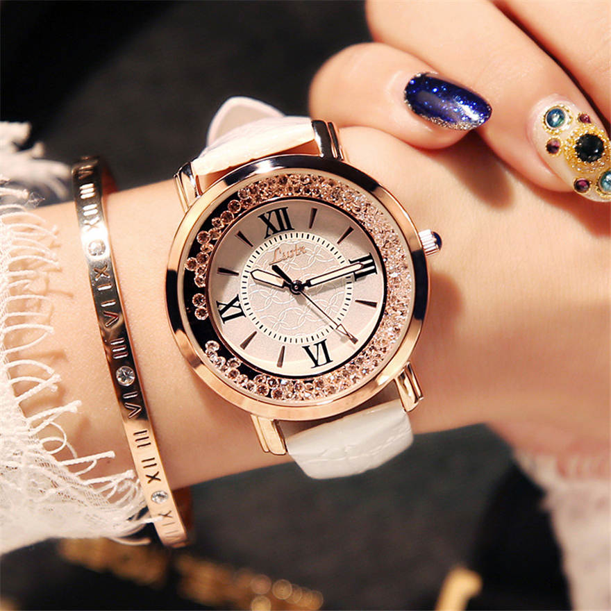 Women Watches Flowing Diamond Dial Design Luxury Fashion Dress Quartz Watch Brand Ladies Wristwatch Montres Femme Zegarek Damski