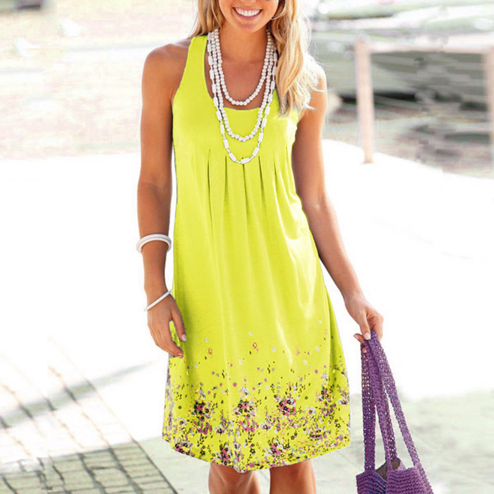 Sleeveless Floral Print Loose Beach Summer Dress Fashion Six Colors Casual Women Dress 39