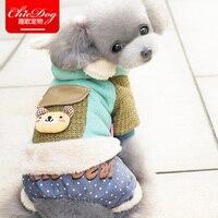 Nowy Przyjazd Zwierzęta kostium Ubrania Dla Psów z Skórzane torby Bawełniane Odzież Zimowa wełniana Jesień z kapturem Cztery Stopy Kombinezony Dla Psów