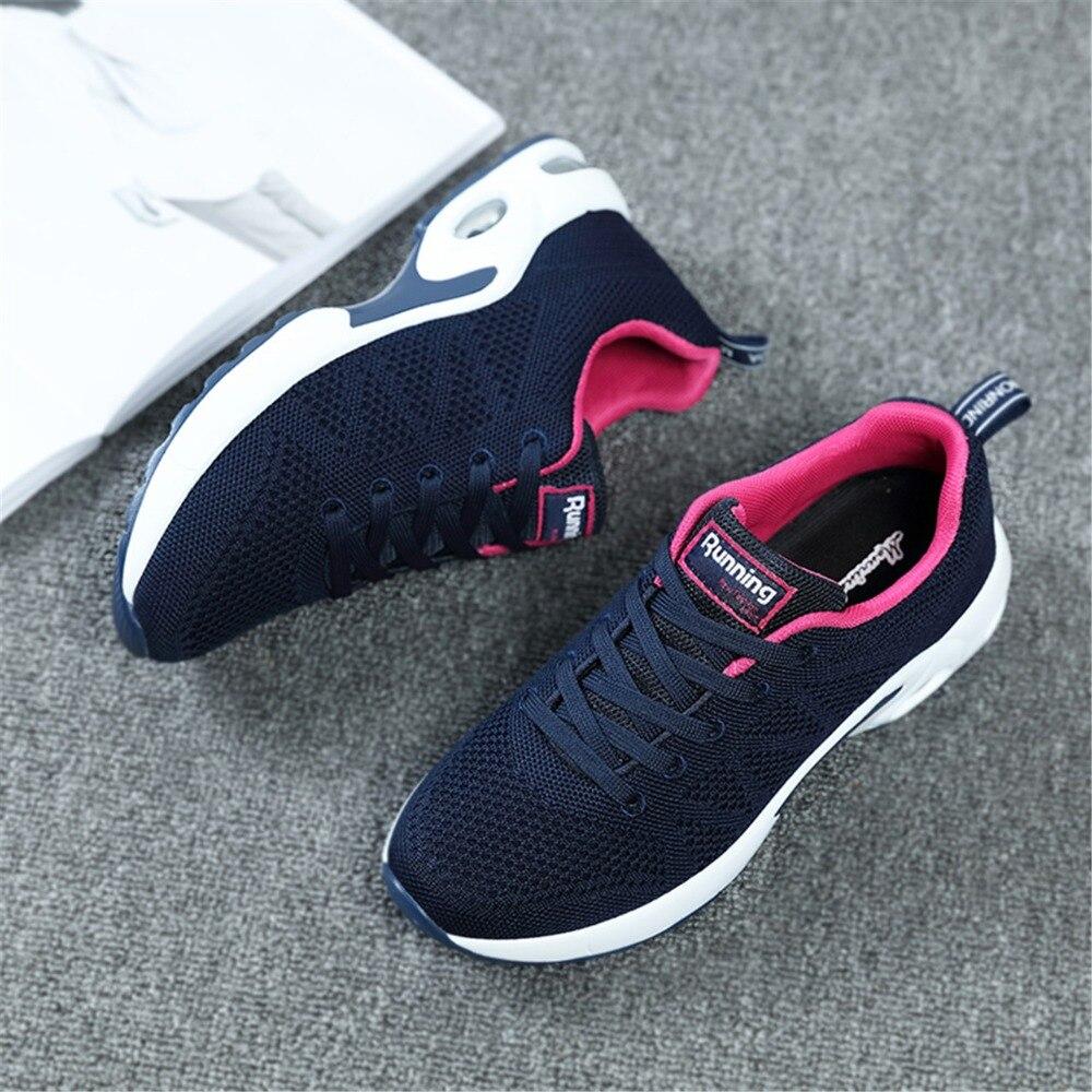 Nuevas zapatillas de deporte de verano de las mujeres de malla transpirable Zapatos de amortiguación Zapatos de deporte de mujer caminar al aire libre Zapatos Señora Zapatos deportivos 7,5