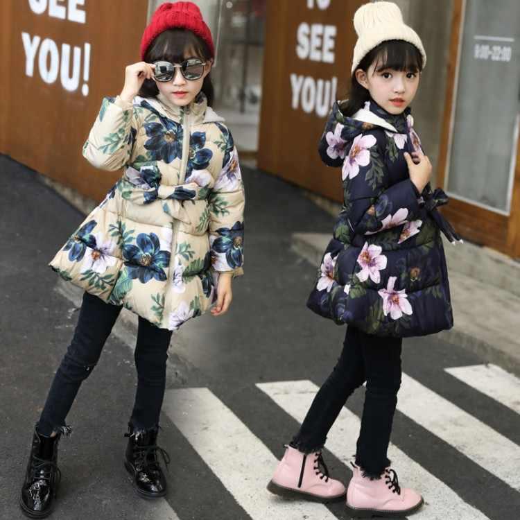 2018 г. Зимнее пальто куртка с капюшоном и цветочным принтом для маленьких девочек Детская стеганая куртка для девочек повседневная детская верхняя одежда с длинными рукавами и бантом