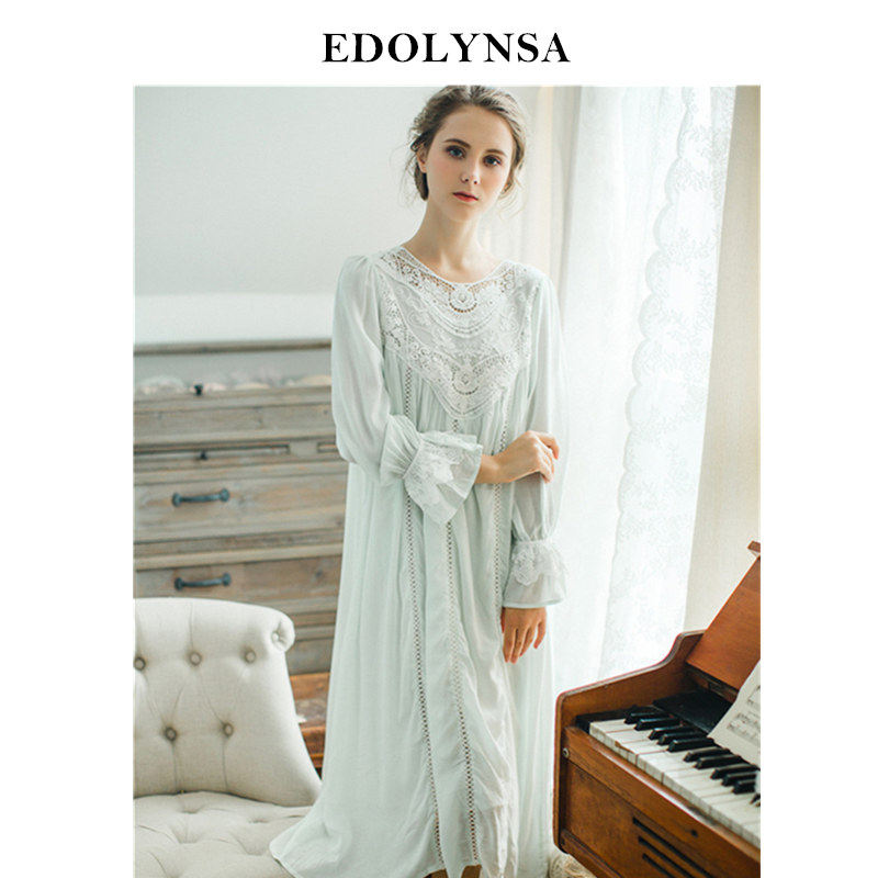 32968f8efd 2019 Lace Nightgowns Sleepshirts Home Dress Sleep   Lounge Nightdress Sexy Nightgown  Female Night Wear Solid