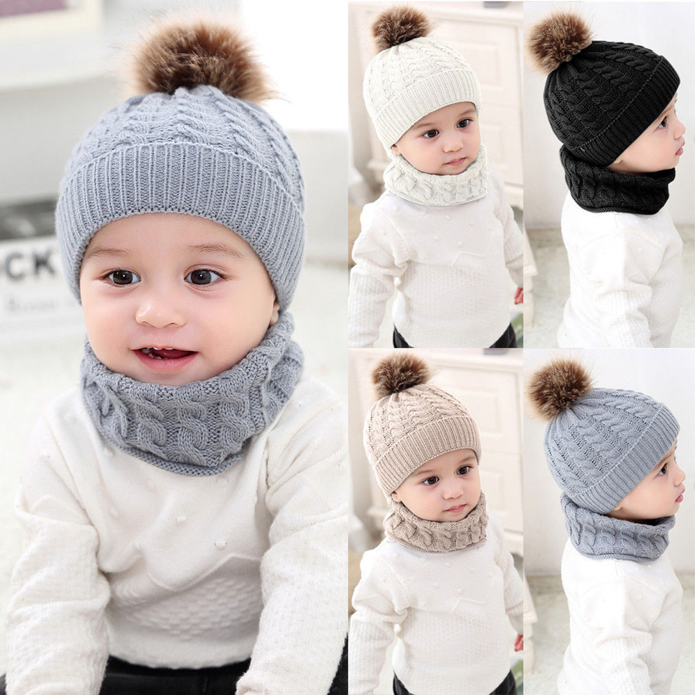 2Pcs Girls Boys Cap+Scarf Set Toddler Baby Winter Warm Fur Ball Hats O Ring Scarves Kids Knitted Beanie Cap+Scarf Keep Warm Set headpiece