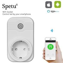Spetu Wifi Smart Plug EU Socket Oem Remote Control Wifi Socket Switch Intelligent Timing Socket Support AmazonEcho Voice