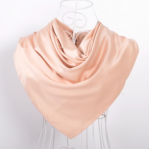 [BYSIFA] New Solid Color Women Large Square Scarves Wraps 100*100cm Autumn Winter Luxury Matt Satin Silk Scarf Brand Head Scarf Lahore
