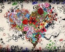 Diy Алмазная вышивка украшение абстрактное сердце цветок картина