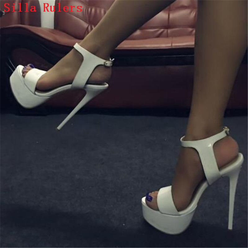 где купить Sexy 16cm High Heels White Leather Women Sandals Platform Gladiator Sandals Women Pumps Wedding Shoes Woman Sandalias Mujer 2018 по лучшей цене