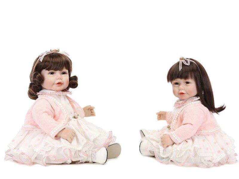 Mignon jumeaux 52 cm Silicone Reborn bébé poupées 20 pouces réaliste vinyle bébé poupée jouet pour enfant en bas âge Boneca mignon cadeaux pour enfants