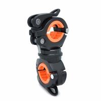 360 Degree Rotation Bicycle Seatposts Clamps Double LED Light Holder Front Flashlight Pump Handlebar Bike Accessory
