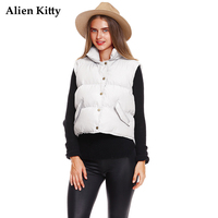 Alien Kitty Padded Real Pocket Cotton Women's Vests Short 2017 Winter Solid Color Vest Woman Coat Single Breasted Placket New