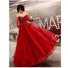 Женское платье с открытыми плечами, кружевное длинное платье из тюля с цветочным принтом, для выпускного вечера, для вечеринки, модель E514, 2019