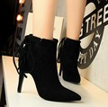 European and American women retro boots Knight boots with high heeled suede thin straps sexy thin women SUB2438
