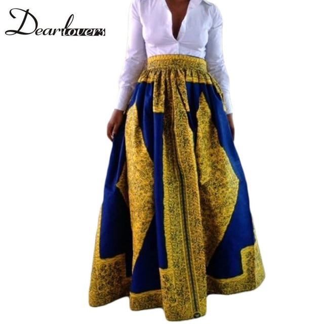 Dear lover Женщины Юбки Весна 2017 Желтый Синий Длинный Африканской Печати Макси Юбка Для Женщин Faldas Largas Estampadas 6 Цветов LC65008