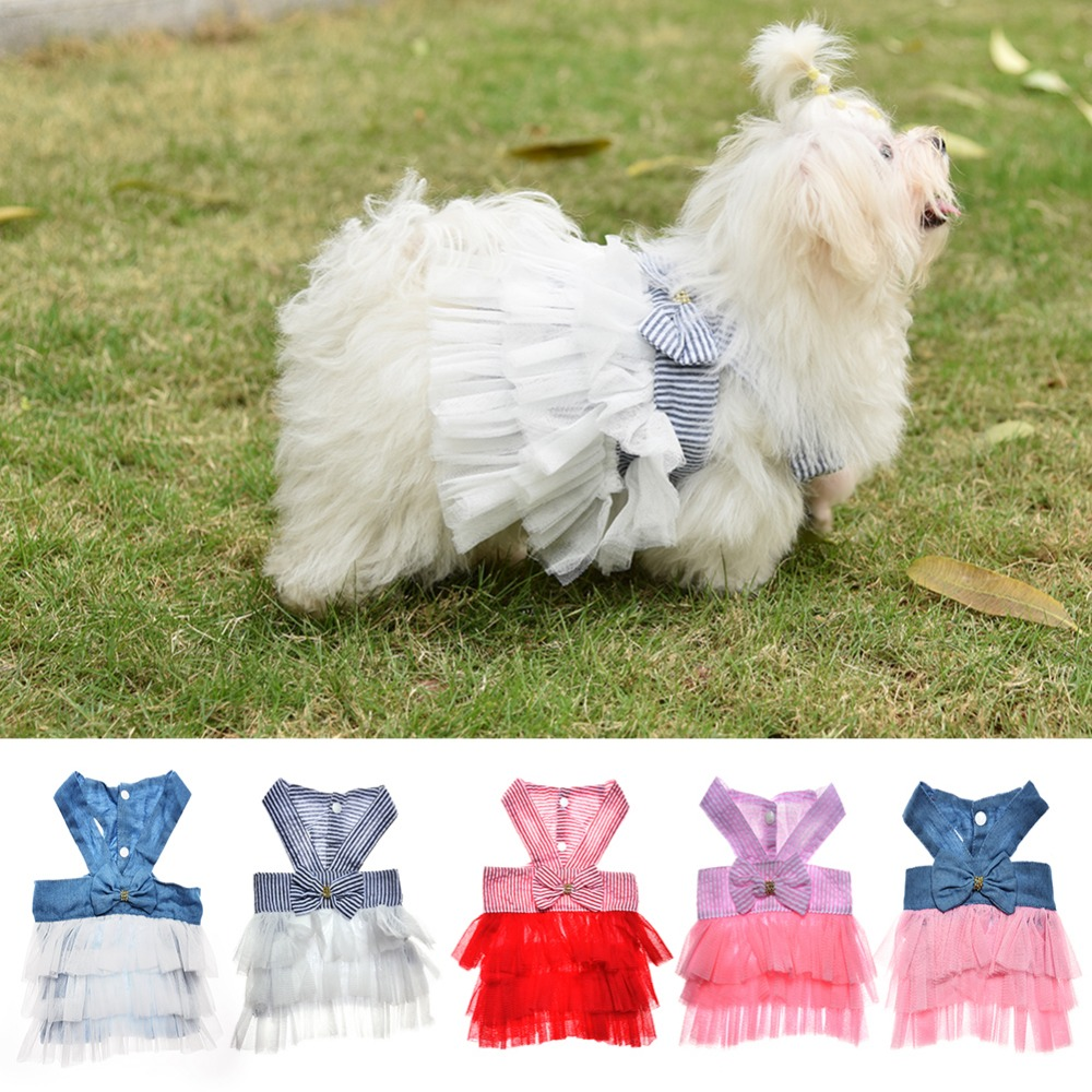 Legújabb többszínű kutya ruha hercegnő stílus grenadine csíkos - Pet termékek