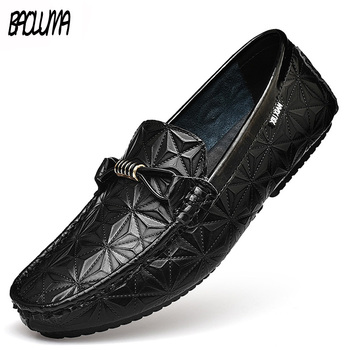 Leather Men's  Loafers Shoes Breathable Walking Slip-on Pointed Leather Patent Business Men's Casual Shoes Wedding Shoes Fashion