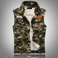 Men Camouflage Denim Vest New 2017 Sleeveless Camo Print Jean Jackets Badges Embellished Free Shipping