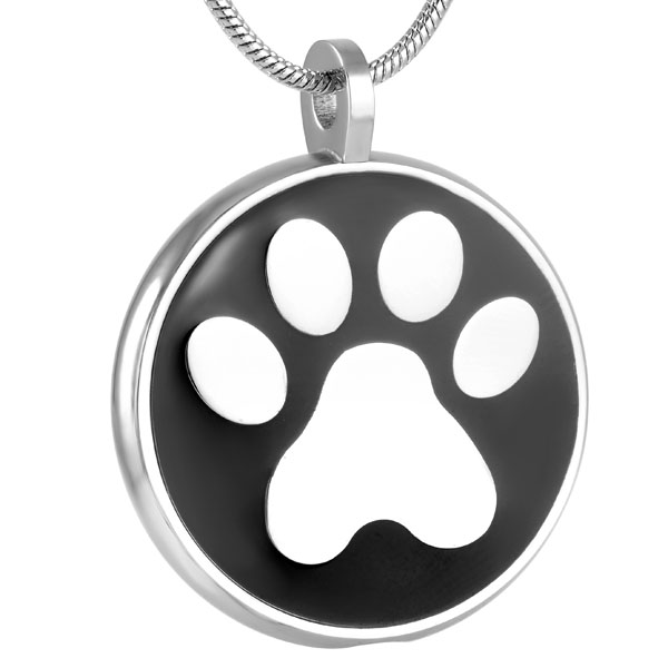 Pet Urn Keychain Dog Cat Paw Cremation Keepsake Memorial Ashes Jewelry Stainless Round Animal