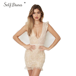 Image 1 - Tự Duna Sundress 2019 Mùa Hè Phụ Nữ Mini Dress Backless Sexy Bodycon Ngắn Ruffle Lưới Vàng Sequin Dress