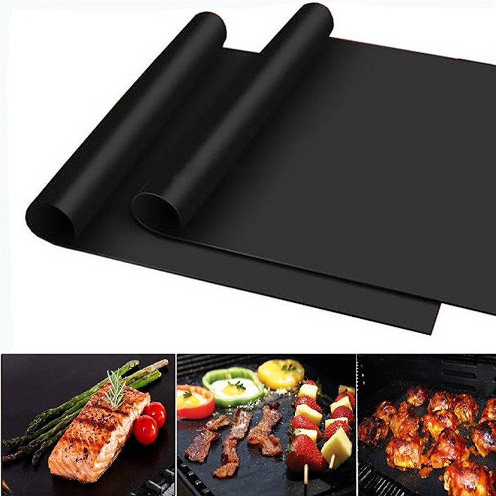 Non Stick Barbecue Grill Sheet Liners Teflon Grilling Mats Nonstick Fish Vegetable Smoking Accessories Charcoal Use on Gas Black Transser BBQ Grill Mesh Mat Set of 5 Electric Barbecue