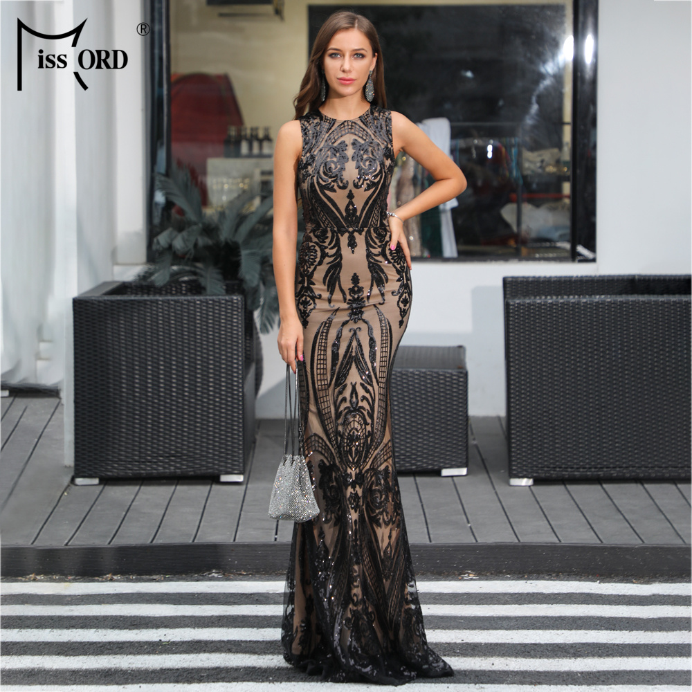 Missord 2019 Women Sexy  O Neck  Sleeveless Retro Geometric Sequin Dresses Female  Elegant  Party Dress  FT18915
