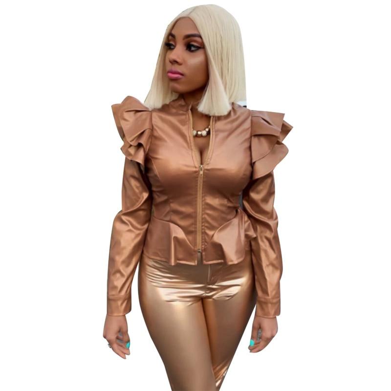 Women Fashion Ruffled Long Sleeve   Jacket   Solid   Basic     Jackets   Washed Pu Coat