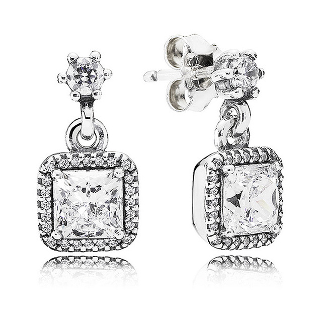 88034ff8b 925 Sterling Silver Earring Timeless Elegance With Crystal Studs Hanging  Earrings For Women Wedding Gift Fine Pandora Jewelry