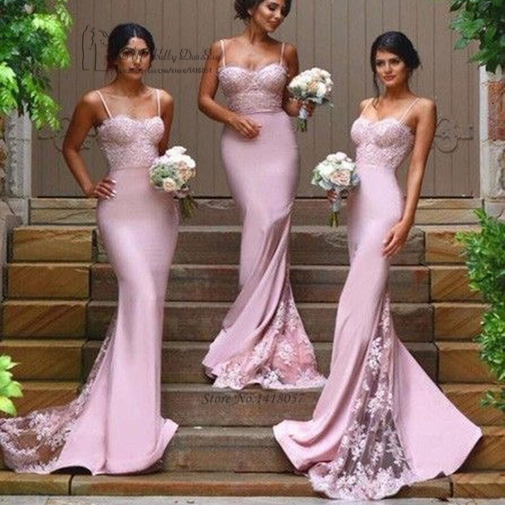 a4481a4d987d Sexy Sirena Abiti da sposa In Pizzo Blush Rosa Lilla Wedding Guest Dress  Cinghie di Spaghetti Veste demoiselle d honneur 2016