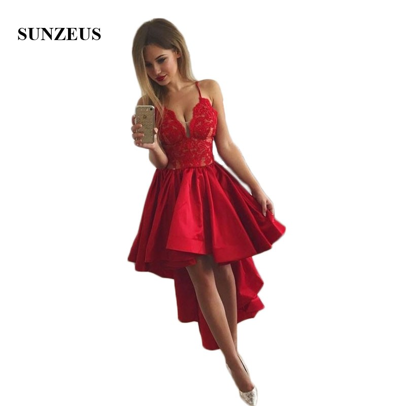 Short Front Back Long Red Cocktail Dresses A-Line Sweetheart Satin Formal Dresses Spaghetti Straps Lace Homcoming Dresses SC02