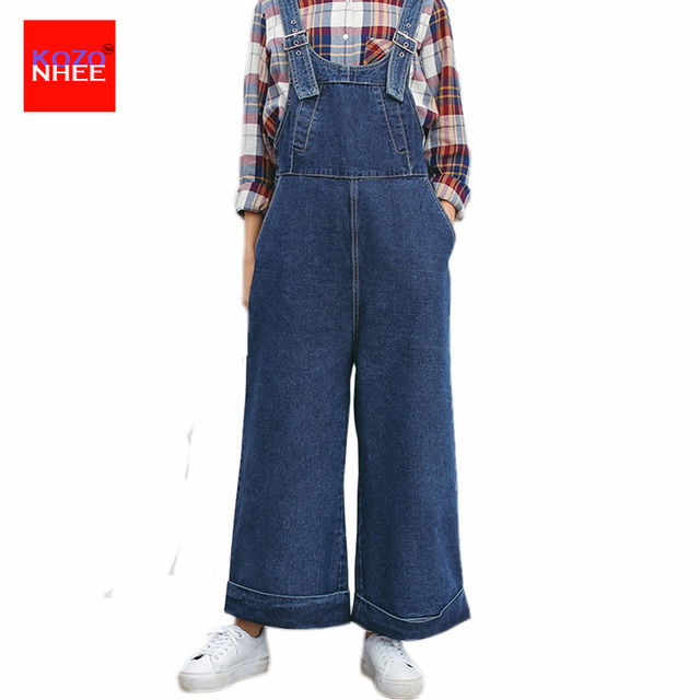 Loose Bell-Bottoms Denim Overall Jeans With High Waist Denim Jumpsuit Flared Coveralls Denim Overalls Women Large Size